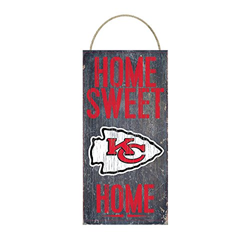 Kansas City Chiefs Sign - Home Sweet Home Distressed Vintage Wood Sign for Fan Wall Decor CHOOSE YOUR TEAM!!! (Kansas City Chiefs)