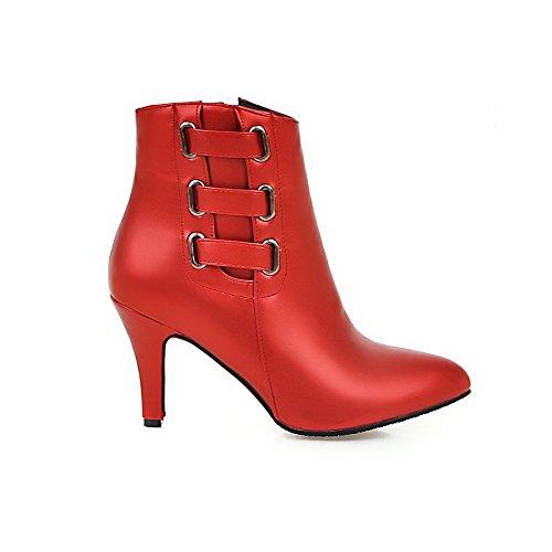 VogueZone009 Damen Blend-Materialien Spitz Zehe Niedrig-Spitze Hoher Absatz Stiefel, Rot-Spitze, 43
