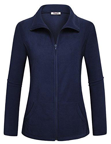 Cute Ladies Winter Jacket - Hibelle Winter Jackets for Women, Ladies Autumn Classic Fit Full Zip Soft Polar Fleece Jacket Zipper Pockets Springs Warm Coat Comfortable Fall Shirt Loose Snug Tops Navy Blue Medium