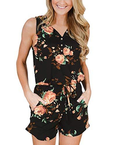 YIBOCK Women's Summer Sleeveless Button Down Striped Short Jumpsuit Tank Romper (Black Floral, XL)