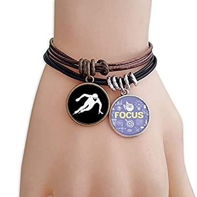 master DIY Skating Black Winter Sport Silhouette Bracelet Rope Wristband Force Handcrafted Jewelry Estimated Price -