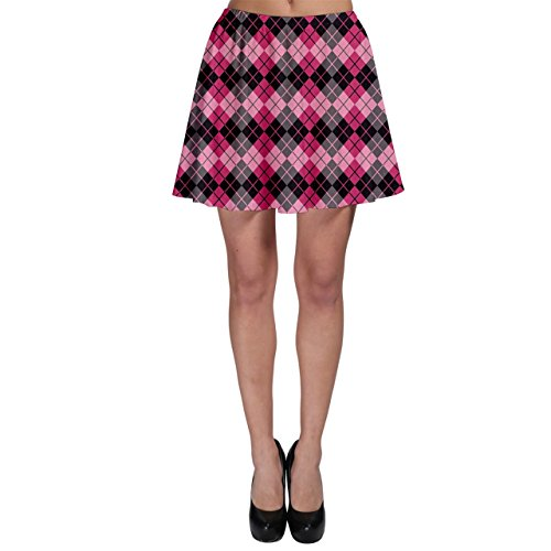 CowCow Colorful Argyle Pattern in Pink and Black Skater Skirt, Black-XL