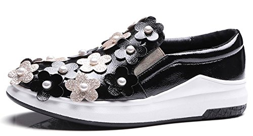 Cheap IDIFU Women's Casual Flowers Round Toe Low Top Slip On Sneakers Low Wedge Heels Platform Shoes Black 7.5 B(M) US