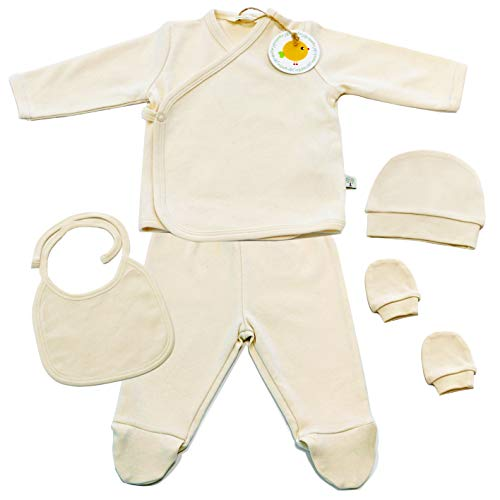 (GOTS Certified 100% Organic 5 Piece Basic Essentials Layette Set for Newborn Baby Boys and Girls)