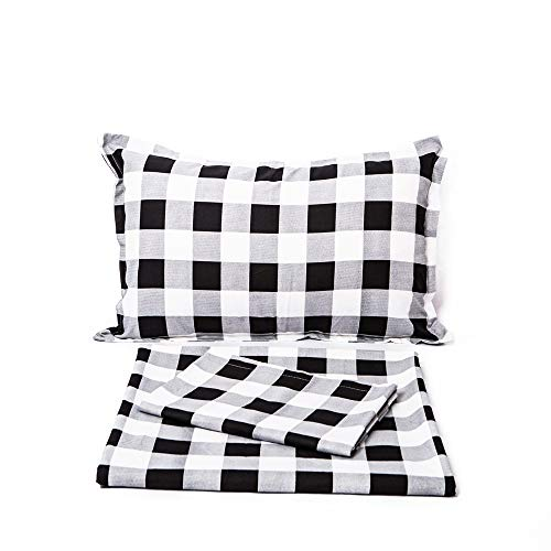 (TEALP Buffalo Check Duvet Cover White and Black Bedding Plaid Bedding 3 Pieces Full Size)