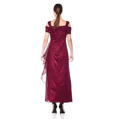 R&M Richards Women's One PCE Long Missy Matte Chiffon Cowl Bodice Dress at  Women's Clothing store