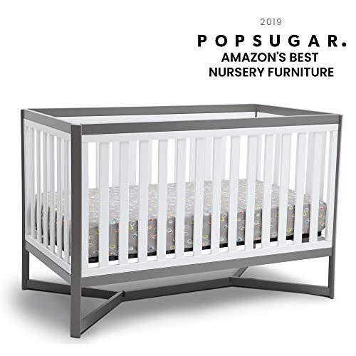 Delta Children Tribeca 4-in-1 Baby Convertible Crib, White Grey