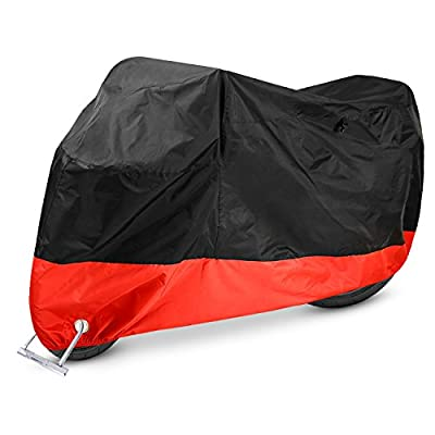 "Ohuhu Motorcycle Cover, All Season Waterproof Motorbike Covers with Lock Holes, Fits up to 108"" Motors, for Honda, Yamaha, Suzuki, Harley (XX Large), Black-Red"