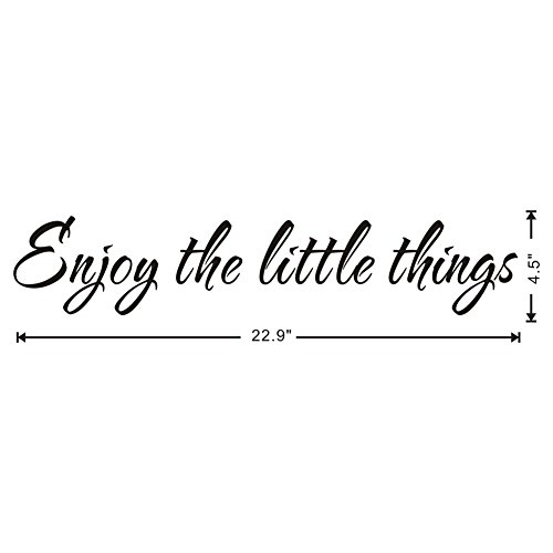 Enjoy The Little Thing Wall Decal Positive Phrases Vinyl Wall Sticker Office Quotes Wall Decal Removable Home Wall Decorations,Black Arttop