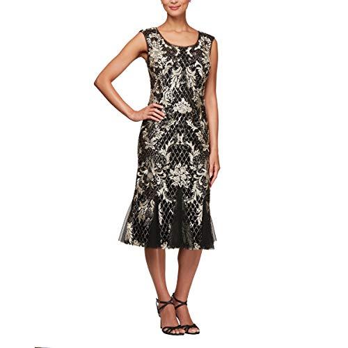 Shift Embroidered Dress Black (Alex Evenings Women's Shift Midi Lace Embroidered Dress (Petite and Regular), Black/Gold 10)