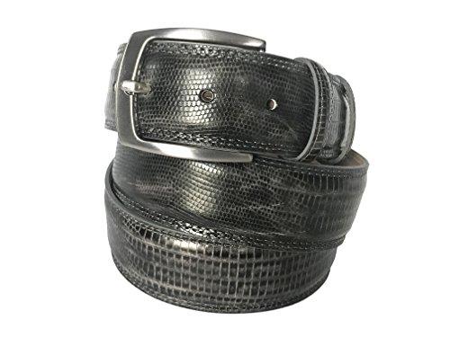 Fresco Golf Full Grain Italian Leather Lizard Embossed Men's Belt, Gray, 37