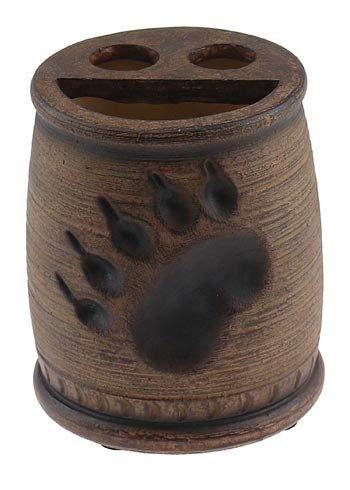 Bear Paw Print Toothbrush Toothpaste Holder Cup, 4-inch, Rustic Bathroom - Prints Bear Paw