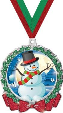 HOLIDAY MEDALS - 2.75'' Glitter Wreath Snowman Medal 50 Pack by Crown Awards