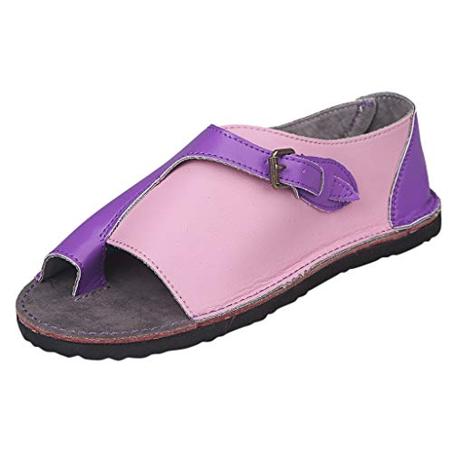 TnaIolral Women Sandals, Roman Style Soft Comfortable Leisure Summer Flat Buckle Flat Beach Shoes (US:8.5, Purple)