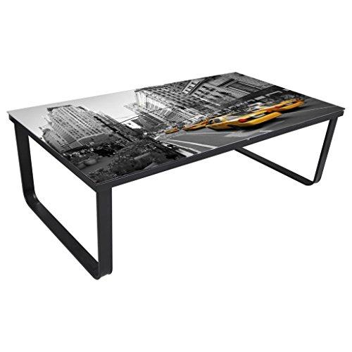 vidaXL Mesa Centro Cuadrada Mesa Auxiliar de Sofa con la impresion en Cristal