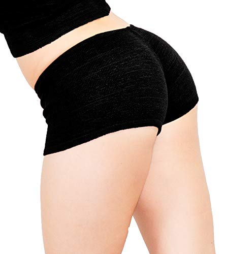 Black Petite Sexy Booty Shorts Stretch Knit KD dance Low Rise Sustainably Manufactured Yoga Gym Zumba Twerk MADE IN USA