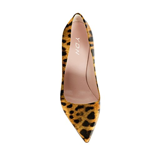 YDN Women Classic Mid Heel Pumps Pointy Toe Slip on Formal Stilettos Office Shoes 5 (Leopard Print) by YDN (Image #4)