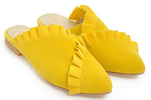 Coupe Plates Chaussures Dentelle Aisun Fermée Loisir Femme Simple Jaune Mules nvqffxwXI