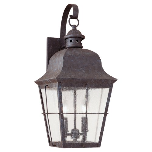(Sea Gull Lighting 8463-46 Chatham Two Light Outdoor Wall Lantern, Oxidized Bronze)