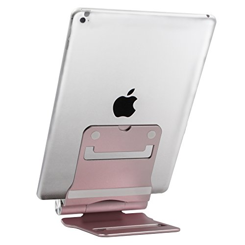 Skoloo [Twins] Reversible Rotating Foldable Desk Desktop Tablet Stand Mobile Cell Phone Holder Cradle Mount for Apple iPad / mini iPhone Cellphone Smartphone E-reader iPod, Aluminum Alloy / Rose Gold