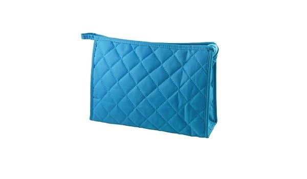 Amazon.com: eDealMax 10,6 Largo del patrón de rejilla en Forma de rectángulo de maquillaje Bolsa Con cremallera Azul claro Para Damas: Health & Personal ...