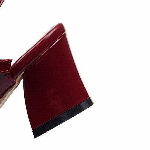 Sandales Correct Vineux Unie Boucle Rouge Talon À Agoolar gmbla013011 Verni Femme Couleur 0ZqHH8
