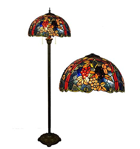 ChuanHan Tiffany Style Floor Lamp,Handmade 17-Inch Stained Glass Floor Lamps, Parlour Dining Room Bedchamber Grape Design Floor Lights,E27,Max 2 40W