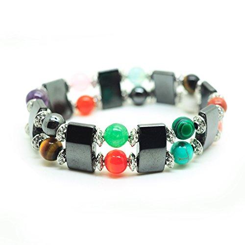 Multi Stone Magnetic Bracelet (Joyagift Black Magnetic Stretch Simulated Hematite Beaded Bracelet Multi Color 8MM Gemstone Jewelry (Multi Gemstone))