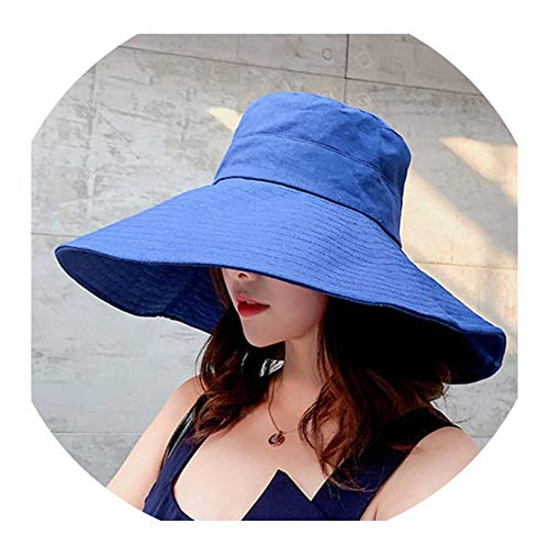 2019 Newest Big Wide Brim Beach hat Fashion Summer UV Protection Sun hat for Women Folding Visor Hat chapeu Feminino,Blue