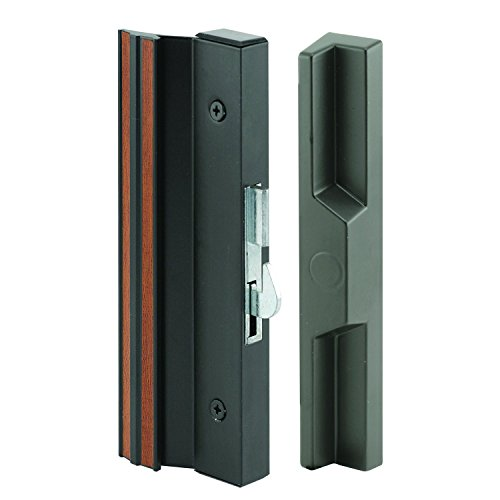 Slide-Co 141752 Sliding Patio Door Handle Set, 4-15/16 in., Extruded Aluminum, Hook Latch, Black w/Wood Grain (Doors Outside Locks Patio For)