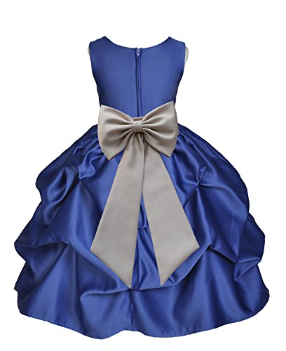 ekidsbridal Navy Blue Satin Pick-Up Flower Girl Dress Birthday Girl Dress 208T S