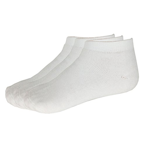 Perfectos Socks Pack of 3 Cushioned No Show Crew Thick Cotton Socks Men (White)