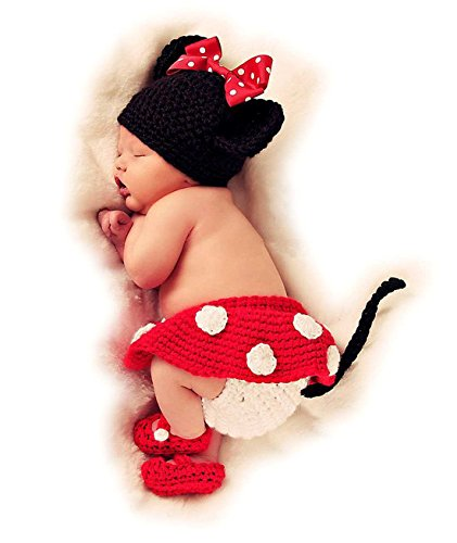 Autek Newborn Baby Mouse Costume Photography Photo Prop Hat Outfit Set
