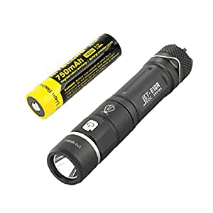 Jetbeam E10R CREE XP-L HI LED AA Rechargeable Flashlight -650 Lumens w/ Rechargeable 14500 Battery