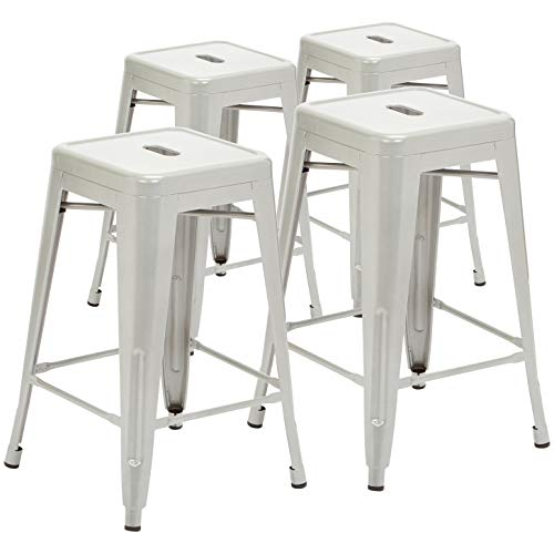 Pioneer Square Haley 24-Inch Backless Square-Seated Counter-Height Metal Stool, Set of 4, Silver Ice ()