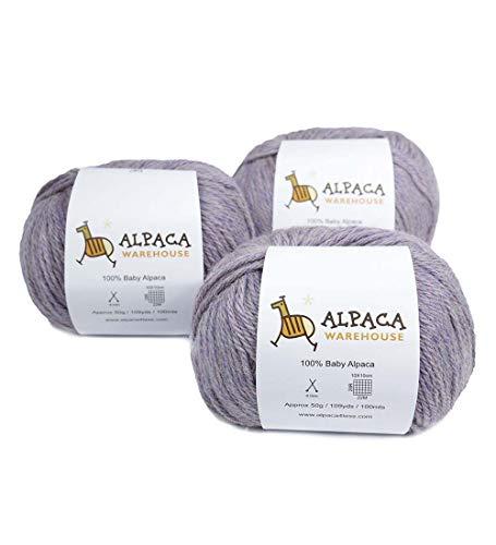 100% Baby Alpaca Yarn Wool Set of 3 Skeins Worsted Weight (Heather Lilac) - Knitting Wool Alpaca