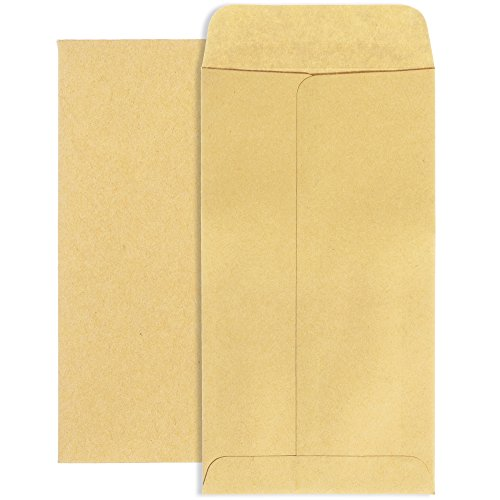 Acko Brown Kraft Coin Envelopes for Storing and Transferring of Coins, Jewelry, Stamps and Other Small Objects, Parts and Materials, Pack of 500 (#7 3.5x6.5 inch)