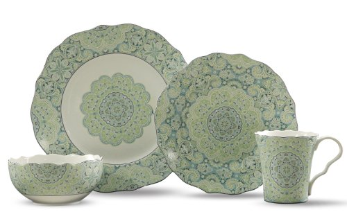 222 Fifth Lyria 16-Piece Dinnerware Sets, Teal - Pts Coffee