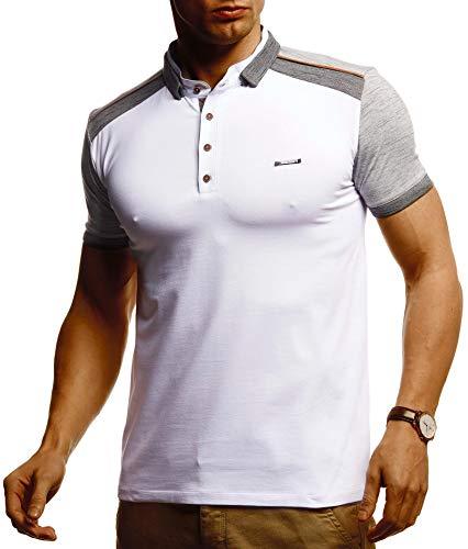 Leif Nelson Herren Sommer T-Shirt Polo Kragen Poloshirt Slim Fit Cooles weißes schwarzes Basic Männer Polo-Shirts Jungen Kurzarmshirt Kurzarm Sleeve Shirt Top LN55190