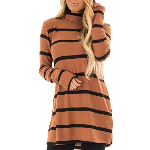 Simayixx Women Dresses Mini Knit Sweater Shirts Blouse Round Neck Long Sleeve Sweatshirts Patchwork Pullovers Tops Shirts Coffee
