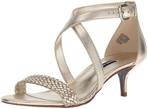 Nine West Women's XALING Heeled Sandal, Light Gold/Metallic, 7 Medium US