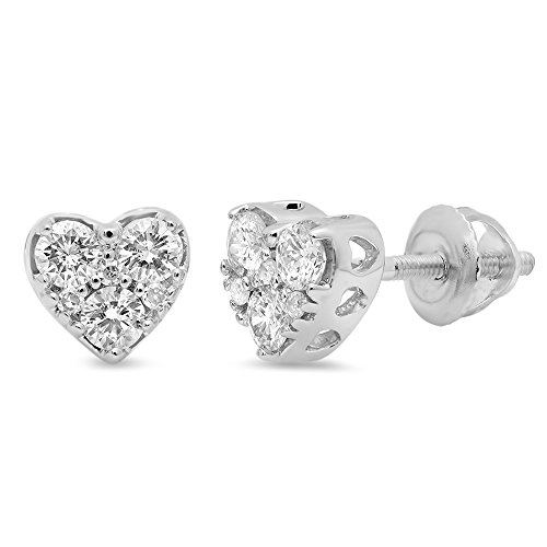 0.40 Carat (ctw) 10K White Gold Round Cut Diamond Ladies Heart Shape Stud Earrings Lady Heart Diamond