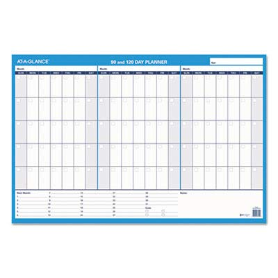 - AT-A-GLANCE Products - AT-A-GLANCE - 90-/120-Day Format Reversible/Erasable Undated Wall Planner, 36 x 24 - Sold As 1 Each - Just fill in the dates for the planning months of choice and erase with damp cloth to make changes. - One side perfect for quarterly planning with lots of note space. - One side lets you plan or track any four months at one time. - Use month after month, year after year. -