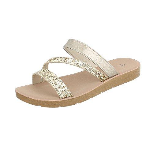 Mujer Sandalias Para de Gold Ital Zuecos Vestir Zapatos Design Plano qtawqWIgc