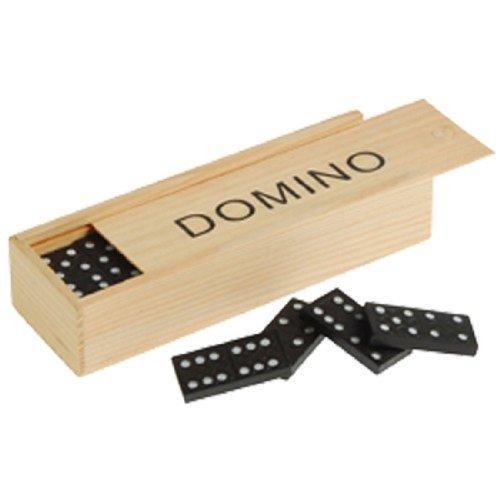 (Mini Travel Set Of 28 Dominoes In Wooden Storage Slide Box)