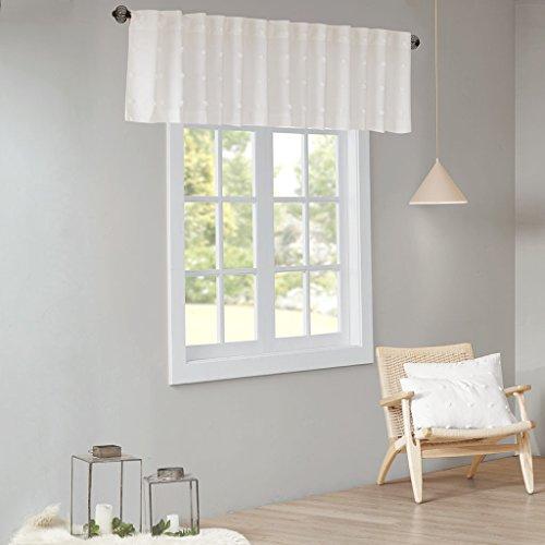 - Urban Habitat Brooklyn Cotton Jacquard Pom Rod Pocket/Back Tab Window Valance Swag for Living Room Kitchen or Bathroom, 50