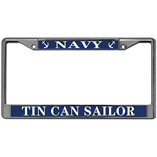 MuYangDing Stainless License Plate Frame Tag Free Screw Caps Included for US Standard Tin Can Sailor Navy US License Plate Frame Pack License Plate Frame License Plate Chrome Frame -