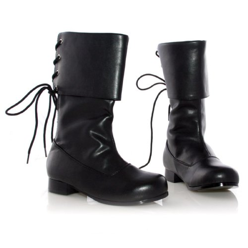Ellie Shoes E-101-Sparrow Childrens 1 Heel Pirate Ankle Boot M/Black PU