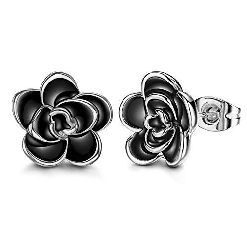 - AllenCOCO 18K Gold Plated Black Rose Flower Stud Earrings for Women (W)