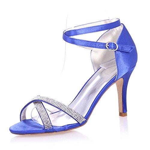 Pump Satin High Fanciest Wedding Toe Party Evening Open Women's Bridal Beaded Blue 05 Heel Royal 9920 Shoes xFnnTPUW